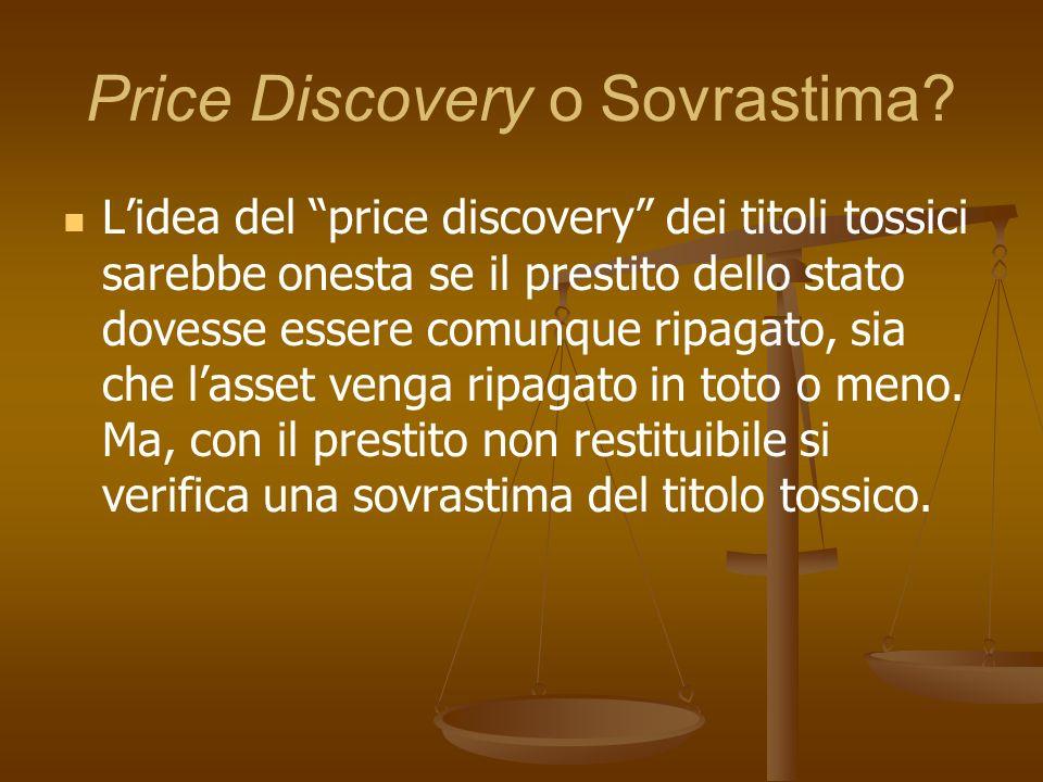 Price Discovery o Sovrastima? Lidea del price discovery dei titoli tossici sarebbe onesta se il prestito dello stato dovesse essere comunque ripagato,