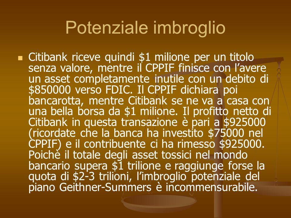 Potenziale imbroglio Citibank riceve quindi $1 milione per un titolo senza valore, mentre il CPPIF finisce con lavere un asset completamente inutile c