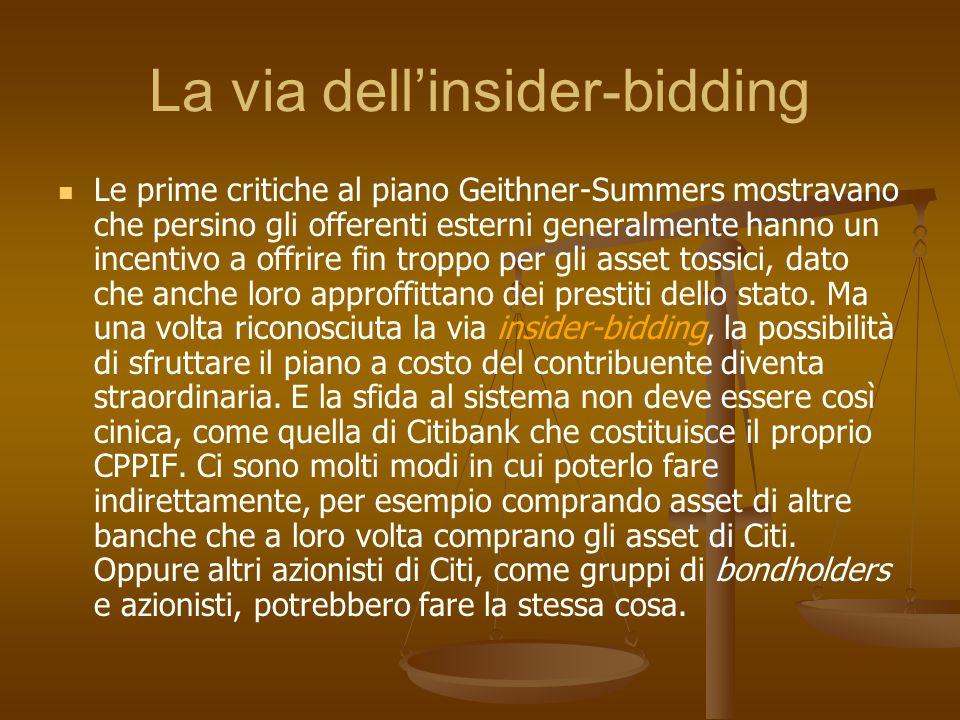 La via dellinsider-bidding Le prime critiche al piano Geithner-Summers mostravano che persino gli offerenti esterni generalmente hanno un incentivo a
