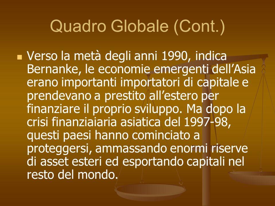 Quadro Globale (Cont.) Verso la metà degli anni 1990, indica Bernanke, le economie emergenti dellAsia erano importanti importatori di capitale e prend