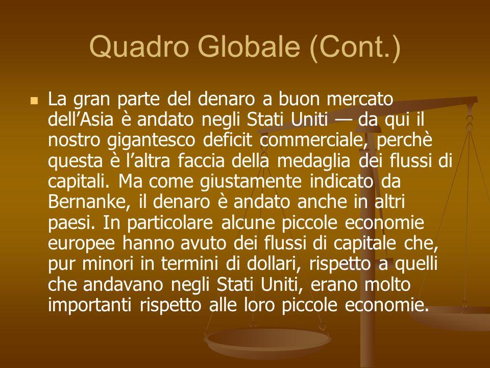 Quadro Globale (Cont.) La gran parte del denaro a buon mercato dellAsia è andato negli Stati Uniti da qui il nostro gigantesco deficit commerciale, pe