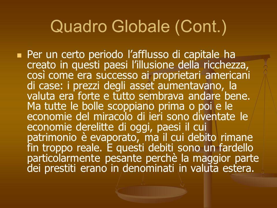 Quadro Globale (Cont.) Per un certo periodo lafflusso di capitale ha creato in questi paesi lillusione della ricchezza, così come era successo ai prop