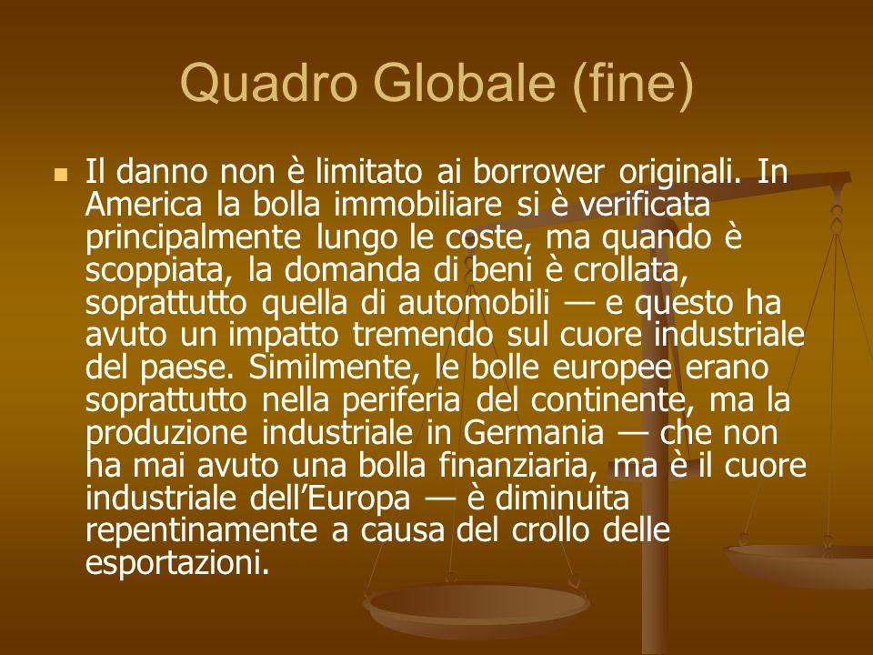 Quadro Globale (fine) Il danno non è limitato ai borrower originali. In America la bolla immobiliare si è verificata principalmente lungo le coste, ma
