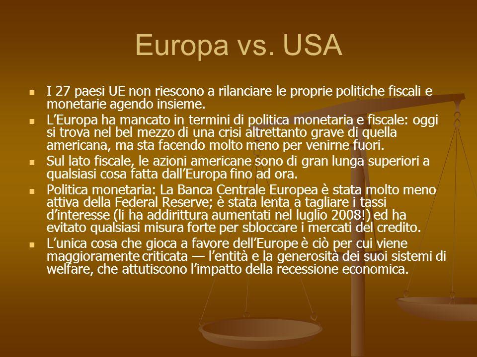 Europa vs. USA I 27 paesi UE non riescono a rilanciare le proprie politiche fiscali e monetarie agendo insieme. LEuropa ha mancato in termini di polit