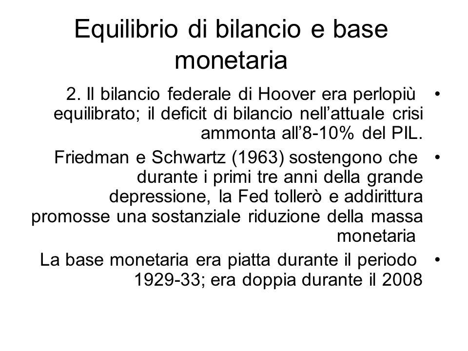 Equilibrio di bilancio e base monetaria 2. Il bilancio federale di Hoover era perlopiù equilibrato; il deficit di bilancio nellattuale crisi ammonta a