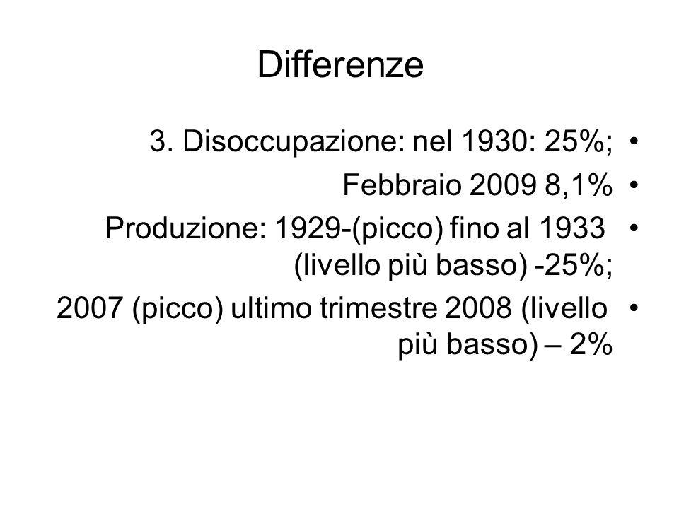 Differenze 3. Disoccupazione: nel 1930: 25%; Febbraio 2009 8,1% Produzione: 1929-(picco) fino al 1933 (livello più basso) -25%; 2007 (picco) ultimo tr