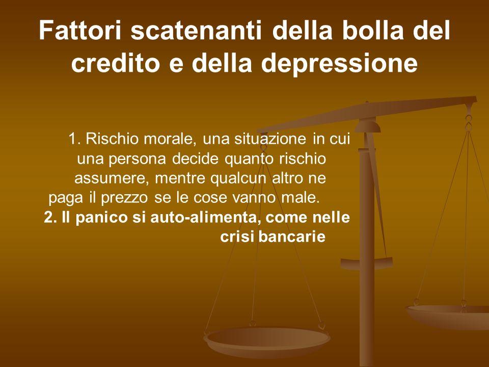 Fattori scatenanti della bolla del credito e della depressione 1. Rischio morale, una situazione in cui una persona decide quanto rischio assumere, me