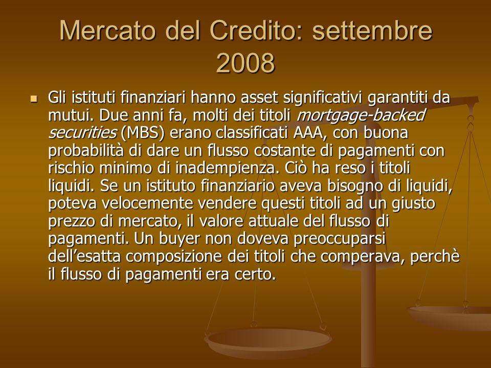 Mercato del Credito: settembre 2008 Gli istituti finanziari hanno asset significativi garantiti da mutui. Due anni fa, molti dei titoli mortgage-backe