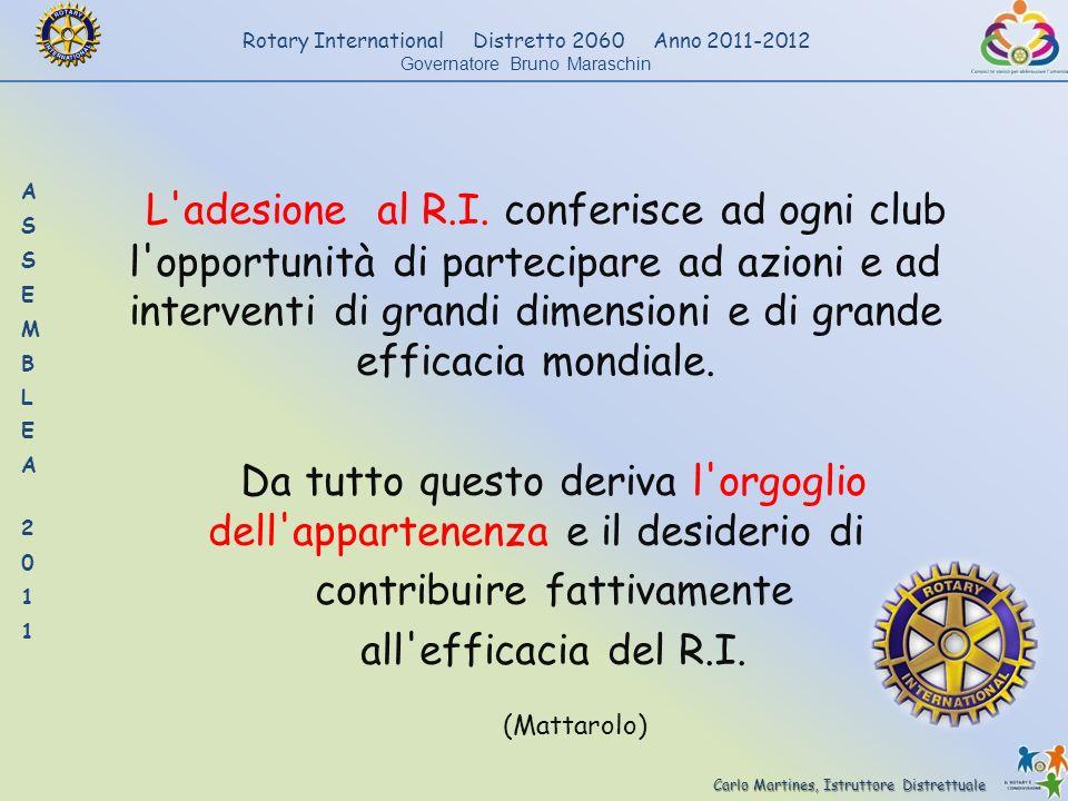 Carlo Martines, Istruttore Distrettuale Rotary International Distretto 2060 Anno 2011-2012 Governatore Bruno Maraschin L'adesione al R.I. conferisce a