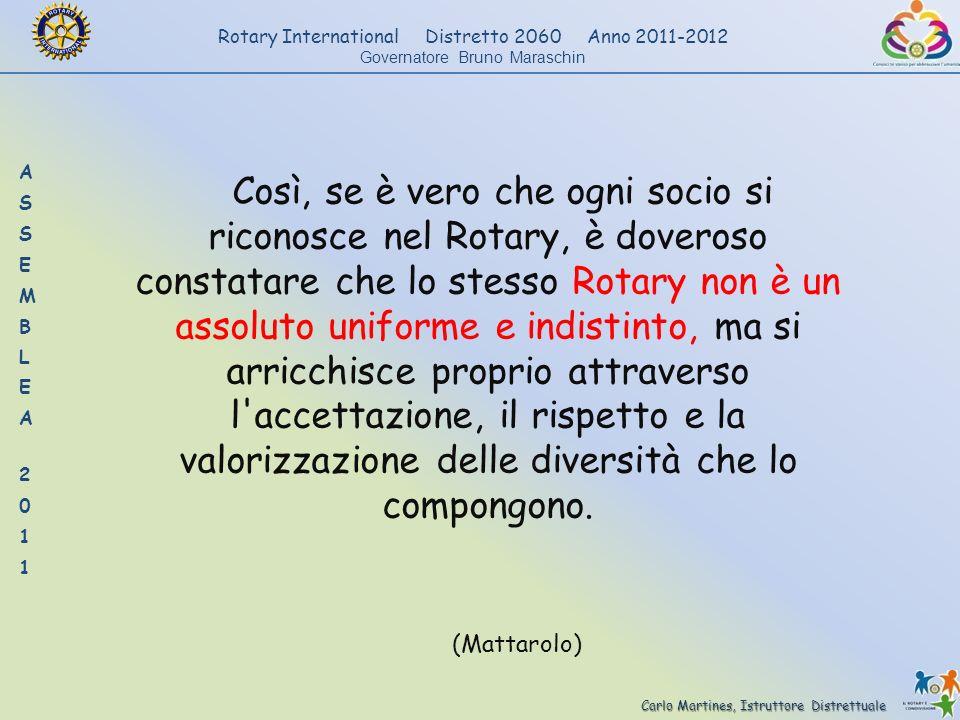 Carlo Martines, Istruttore Distrettuale Rotary International Distretto 2060 Anno 2011-2012 Governatore Bruno Maraschin Così, se è vero che ogni socio