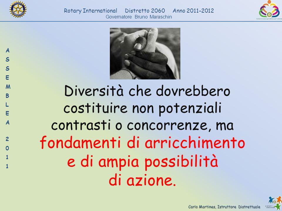 Carlo Martines, Istruttore Distrettuale Rotary International Distretto 2060 Anno 2011-2012 Governatore Bruno Maraschin Diversità che dovrebbero costit
