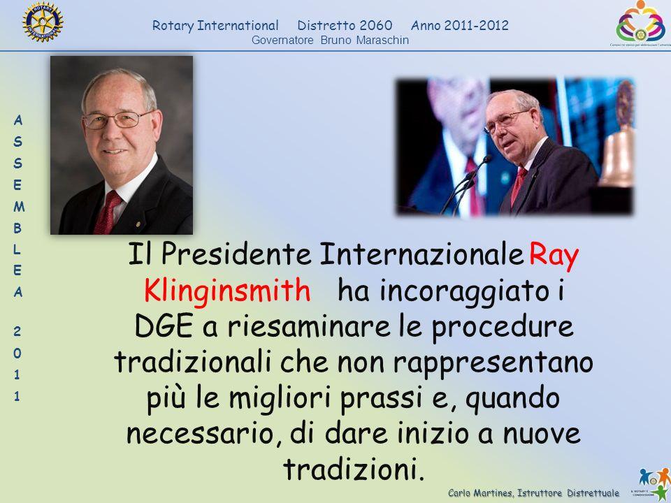 Carlo Martines, Istruttore Distrettuale Rotary International Distretto 2060 Anno 2011-2012 Governatore Bruno Maraschin Il Presidente Internazionale Ra