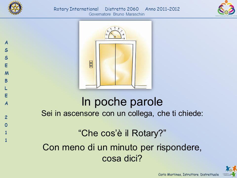 Carlo Martines, Istruttore Distrettuale Rotary International Distretto 2060 Anno 2011-2012 Governatore Bruno Maraschin In poche parole Sei in ascensor