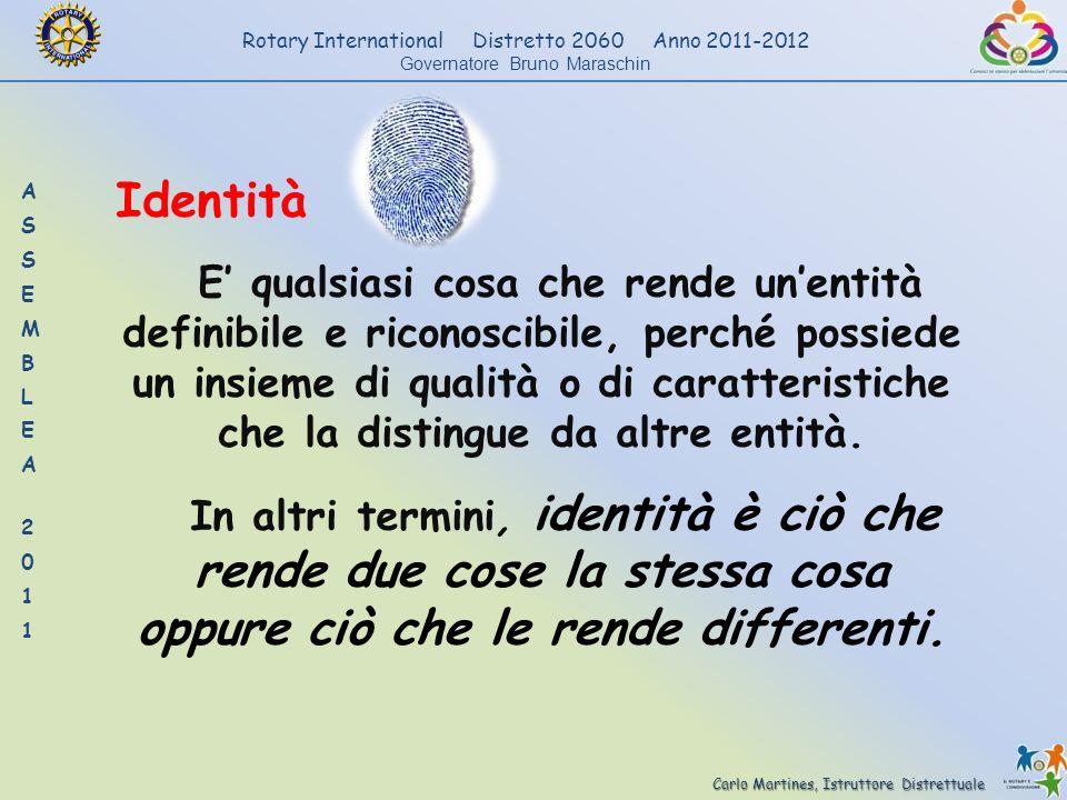 Carlo Martines, Istruttore Distrettuale Rotary International Distretto 2060 Anno 2011-2012 Governatore Bruno Maraschin Identità E qualsiasi cosa che r