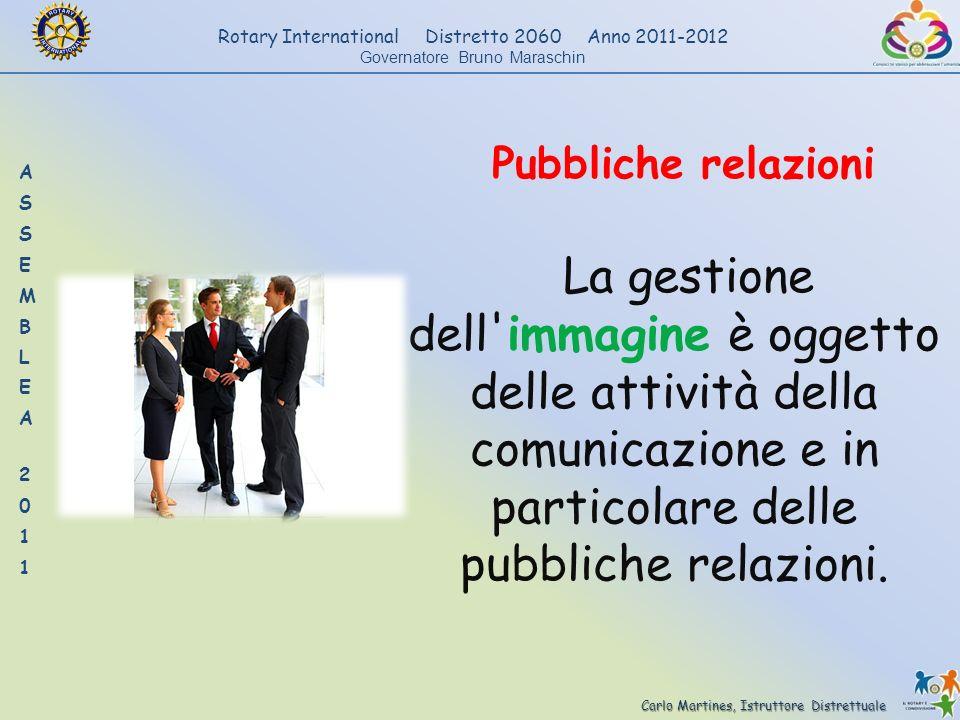 Carlo Martines, Istruttore Distrettuale Rotary International Distretto 2060 Anno 2011-2012 Governatore Bruno Maraschin Pubbliche relazioni La gestione