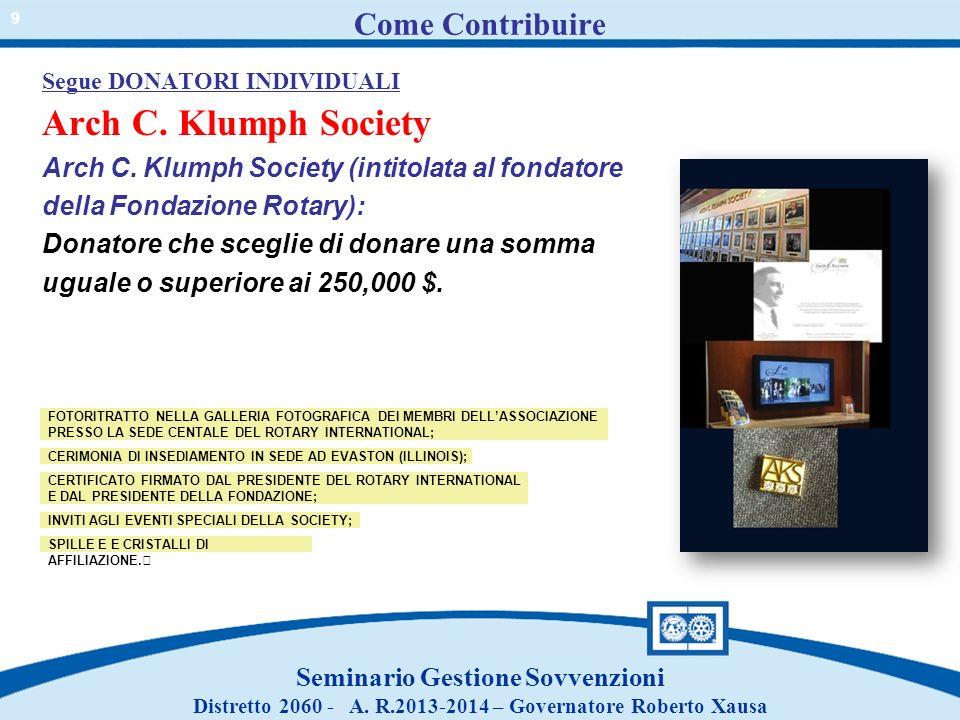 Come Contribuire Segue DONATORI INDIVIDUALI Arch C. Klumph Society Arch C. Klumph Society (intitolata al fondatore della Fondazione Rotary): Donatore