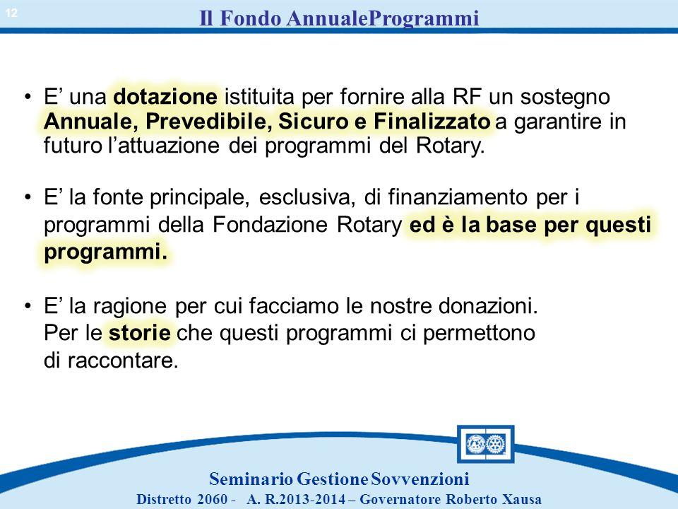 Il Fondo AnnualeProgrammi Seminario Gestione Sovvenzioni Distretto 2060 - A. R.2013-2014 – Governatore Roberto Xausa 12