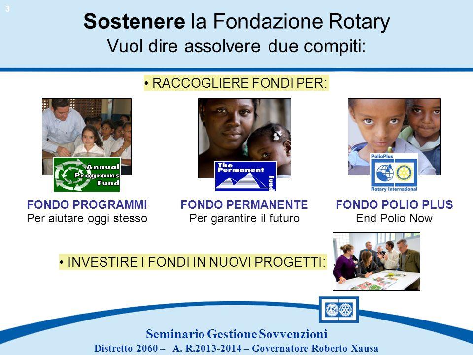 Seminario Gestione Sovvenzioni Distretto 2060 – A. R.2013-2014 – Governatore Roberto Xausa Sostenere la Fondazione Rotary FONDO PROGRAMMI Per aiutare