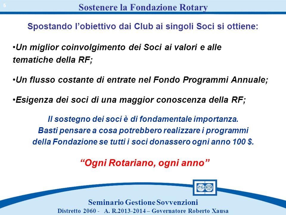 Spostando lobiettivo dai Club ai singoli Soci si ottiene: Un miglior coinvolgimento dei Soci ai valori e alle tematiche della RF; Un flusso costante d
