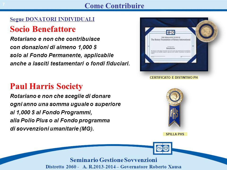 Come Contribuire Segue DONATORI INDIVIDUALI Socio Benefattore Rotariano e non che contribuisce con donazioni di almeno 1,000 $ solo al Fondo Permanent