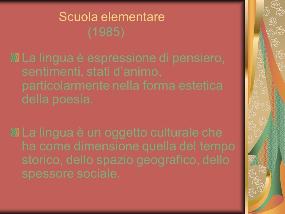 Scuola elementare (1985) La lingua è espressione di pensiero, sentimenti, stati danimo, particolarmente nella forma estetica della poesia. La lingua è