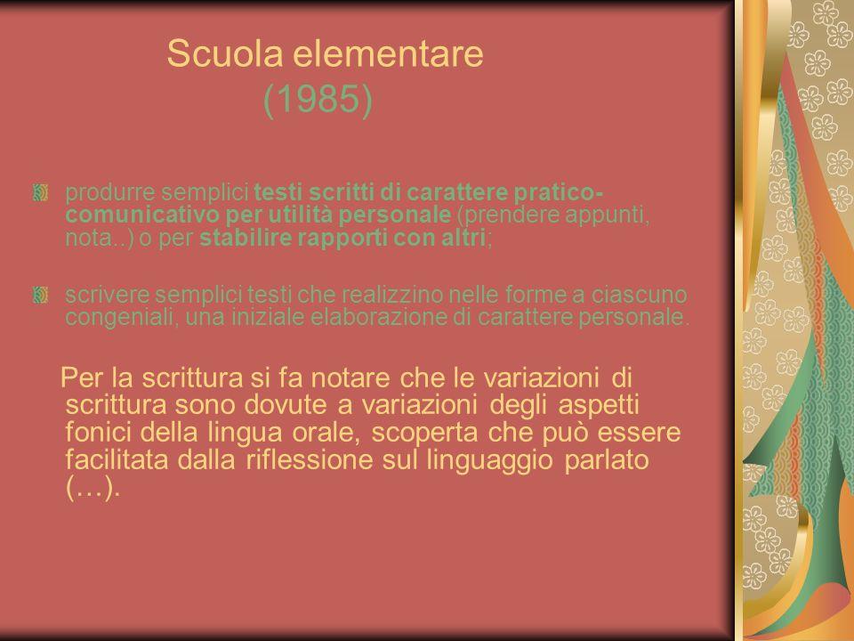 Scuola elementare (1985) produrre semplici testi scritti di carattere pratico- comunicativo per utilità personale (prendere appunti, nota..) o per sta