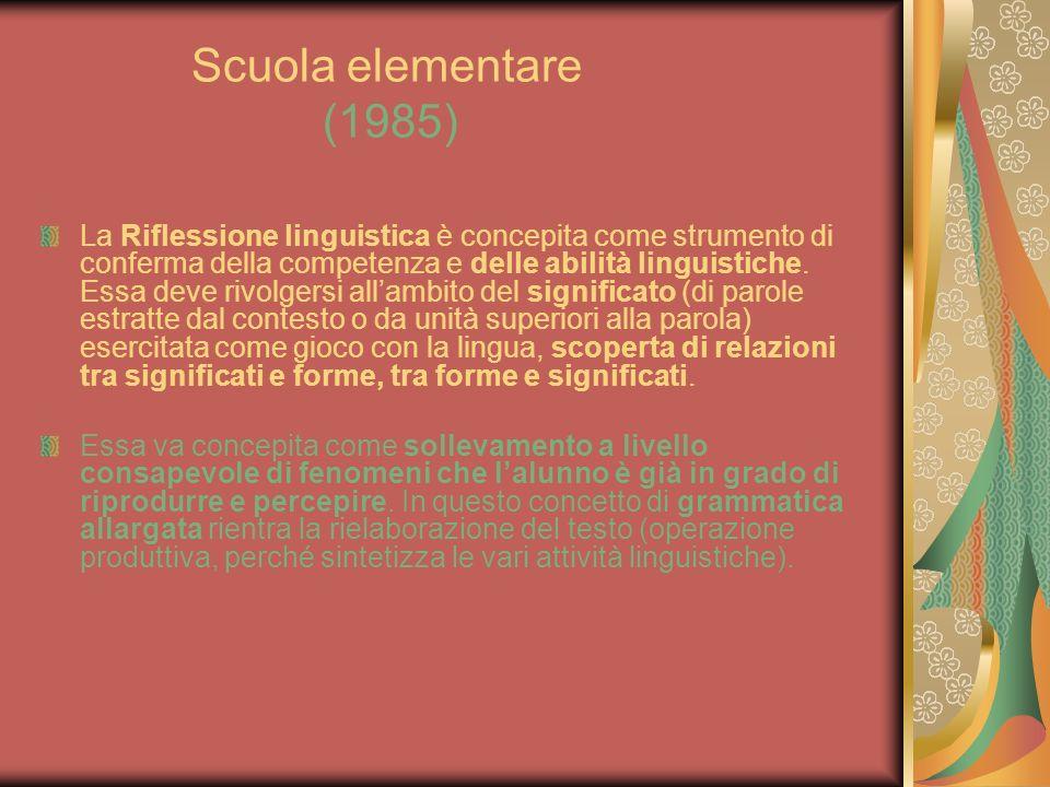 Scuola elementare (1985) La Riflessione linguistica è concepita come strumento di conferma della competenza e delle abilità linguistiche. Essa deve ri