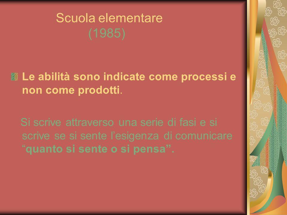 Scuola elementare (1985) Le abilità sono indicate come processi e non come prodotti. Si scrive attraverso una serie di fasi e si scrive se si sente le