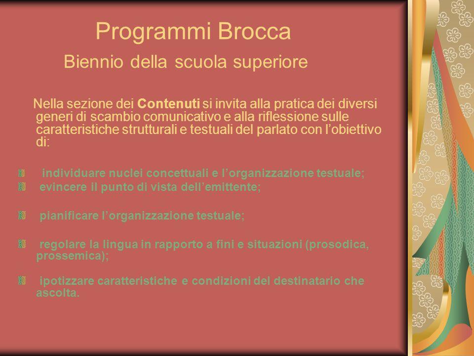 Programmi Brocca Biennio della scuola superiore Nella sezione dei Contenuti si invita alla pratica dei diversi generi di scambio comunicativo e alla r