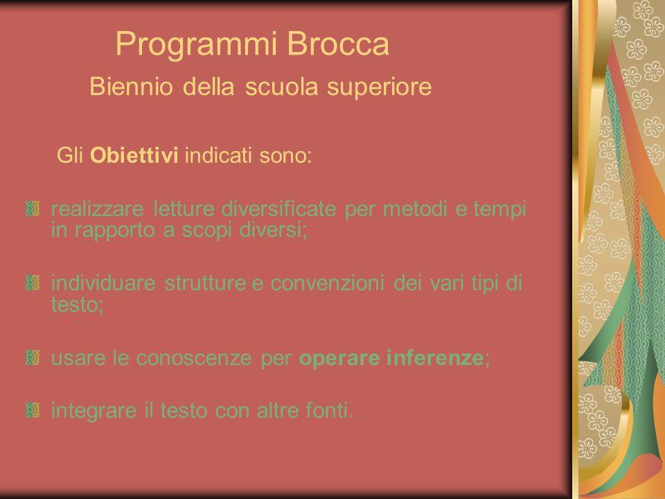 Programmi Brocca Biennio della scuola superiore Gli Obiettivi indicati sono: realizzare letture diversificate per metodi e tempi in rapporto a scopi d