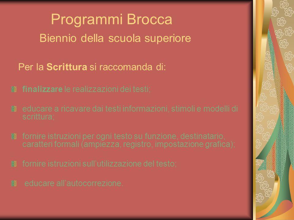 Programmi Brocca Biennio della scuola superiore Per la Scrittura si raccomanda di: finalizzare le realizzazioni dei testi; educare a ricavare dai test