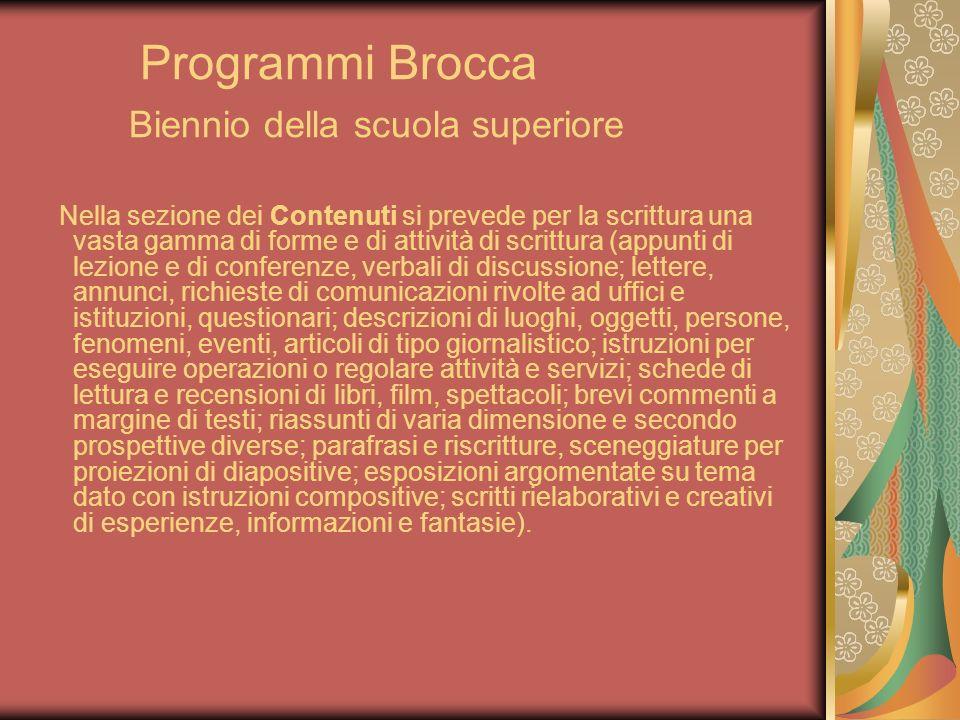 Programmi Brocca Biennio della scuola superiore Nella sezione dei Contenuti si prevede per la scrittura una vasta gamma di forme e di attività di scri