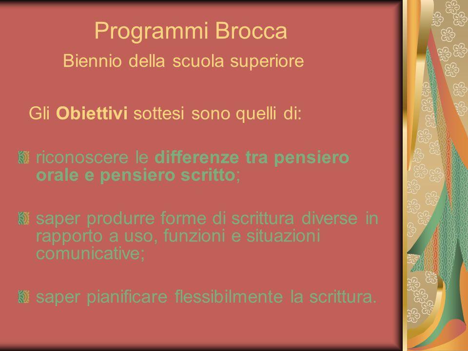 Programmi Brocca Biennio della scuola superiore Gli Obiettivi sottesi sono quelli di: riconoscere le differenze tra pensiero orale e pensiero scritto;