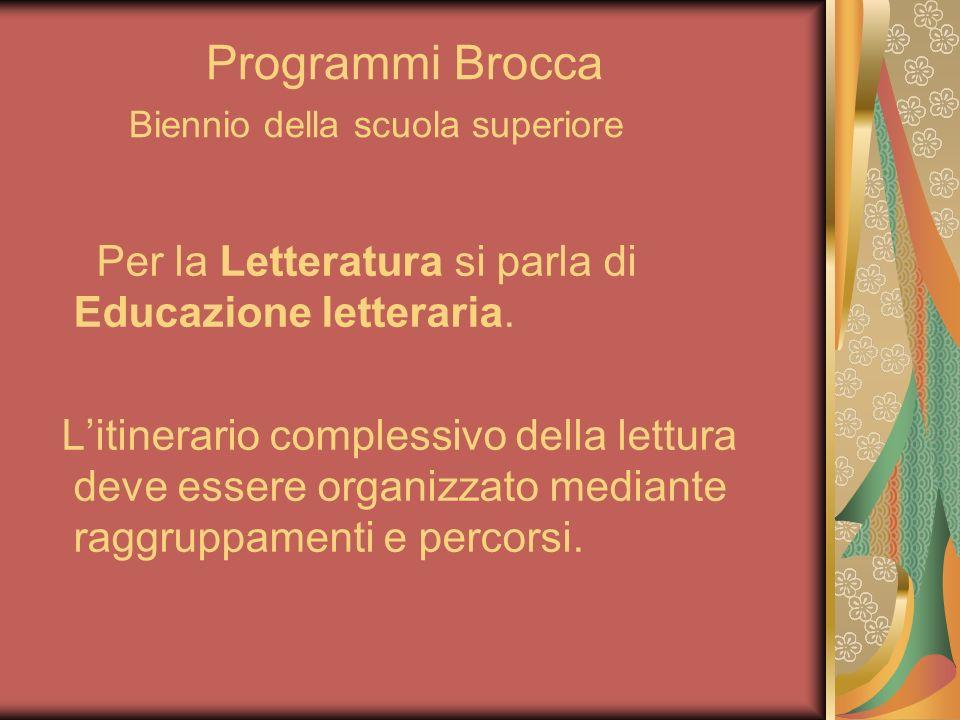 Programmi Brocca Biennio della scuola superiore Per la Letteratura si parla di Educazione letteraria. Litinerario complessivo della lettura deve esser