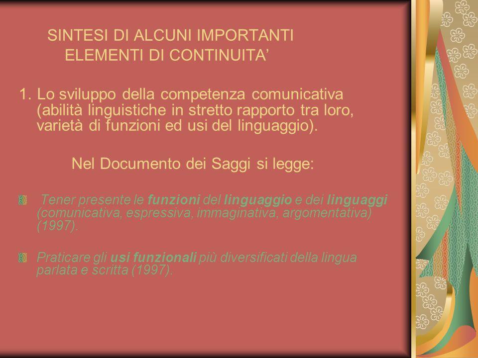SINTESI DI ALCUNI IMPORTANTI ELEMENTI DI CONTINUITA 1. Lo sviluppo della competenza comunicativa (abilità linguistiche in stretto rapporto tra loro, v