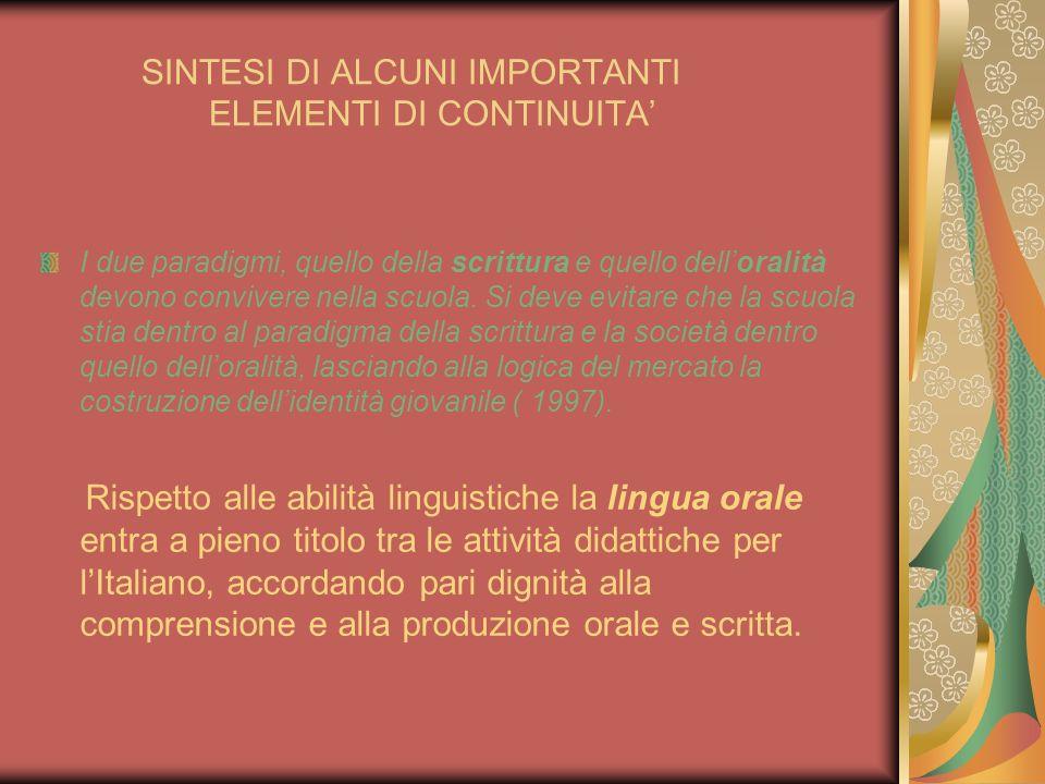 SINTESI DI ALCUNI IMPORTANTI ELEMENTI DI CONTINUITA I due paradigmi, quello della scrittura e quello delloralità devono convivere nella scuola. Si dev