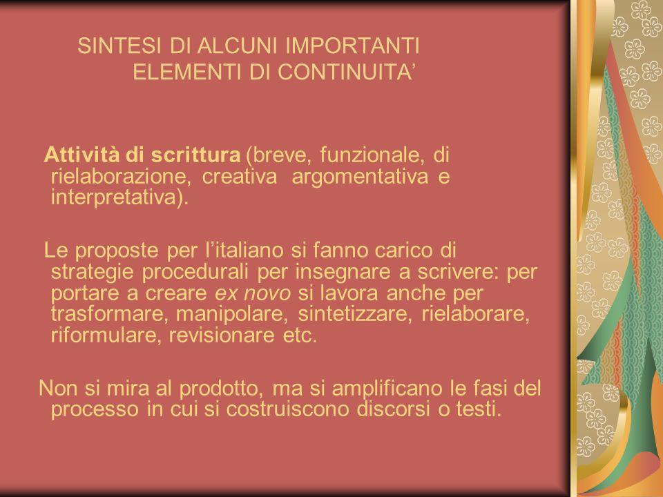 SINTESI DI ALCUNI IMPORTANTI ELEMENTI DI CONTINUITA Attività di scrittura (breve, funzionale, di rielaborazione, creativa argomentativa e interpretati
