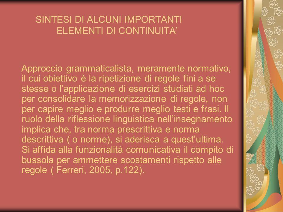 SINTESI DI ALCUNI IMPORTANTI ELEMENTI DI CONTINUITA Approccio grammaticalista, meramente normativo, il cui obiettivo è la ripetizione di regole fini a