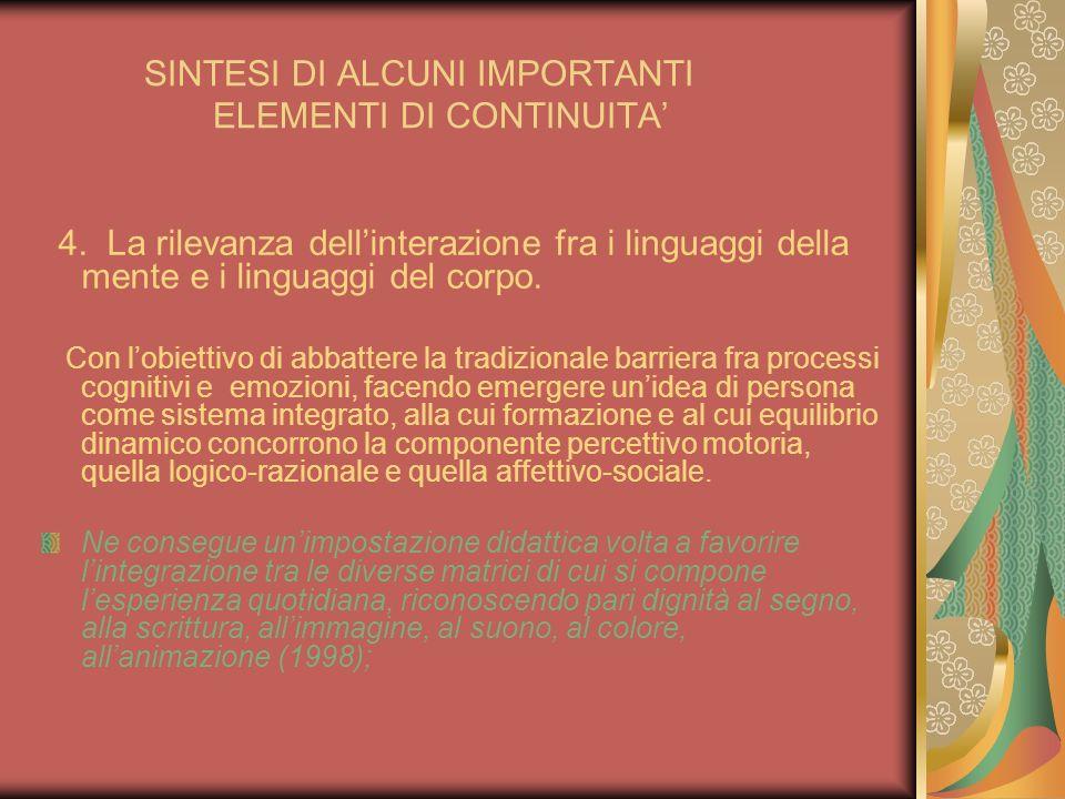 SINTESI DI ALCUNI IMPORTANTI ELEMENTI DI CONTINUITA 4. La rilevanza dellinterazione fra i linguaggi della mente e i linguaggi del corpo. Con lobiettiv