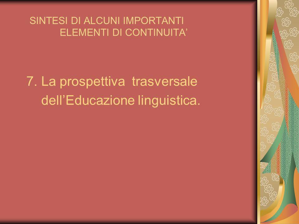 SINTESI DI ALCUNI IMPORTANTI ELEMENTI DI CONTINUITA 7. La prospettiva trasversale dellEducazione linguistica.