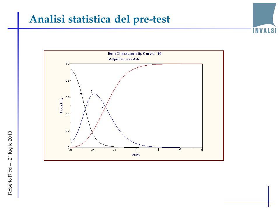 Analisi statistica del pre-test Roberto Ricci – 21 luglio 2010