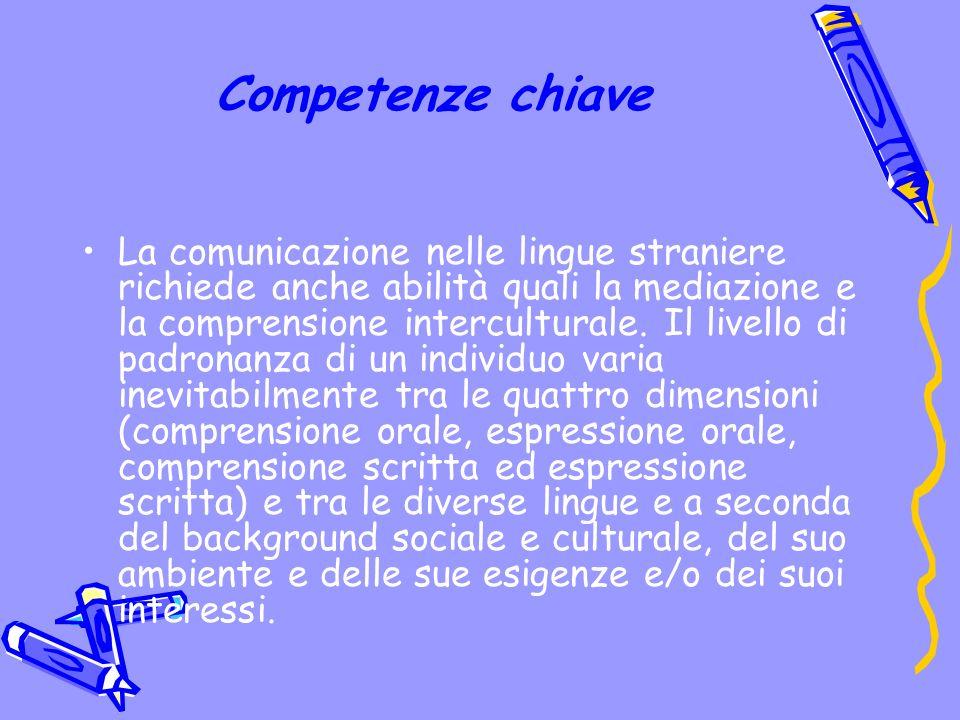 Competenze chiave La comunicazione nelle lingue straniere richiede anche abilità quali la mediazione e la comprensione interculturale.