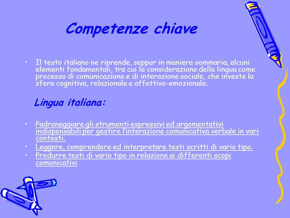 Competenze chiave Il testo italiano ne riprende, seppur in maniera sommaria, alcuni elementi fondamentali, tra cui la considerazione della lingua come processo di comunicazione e di interazione sociale, che investe la sfera cognitiva, relazionale e affettivo-emozionale.