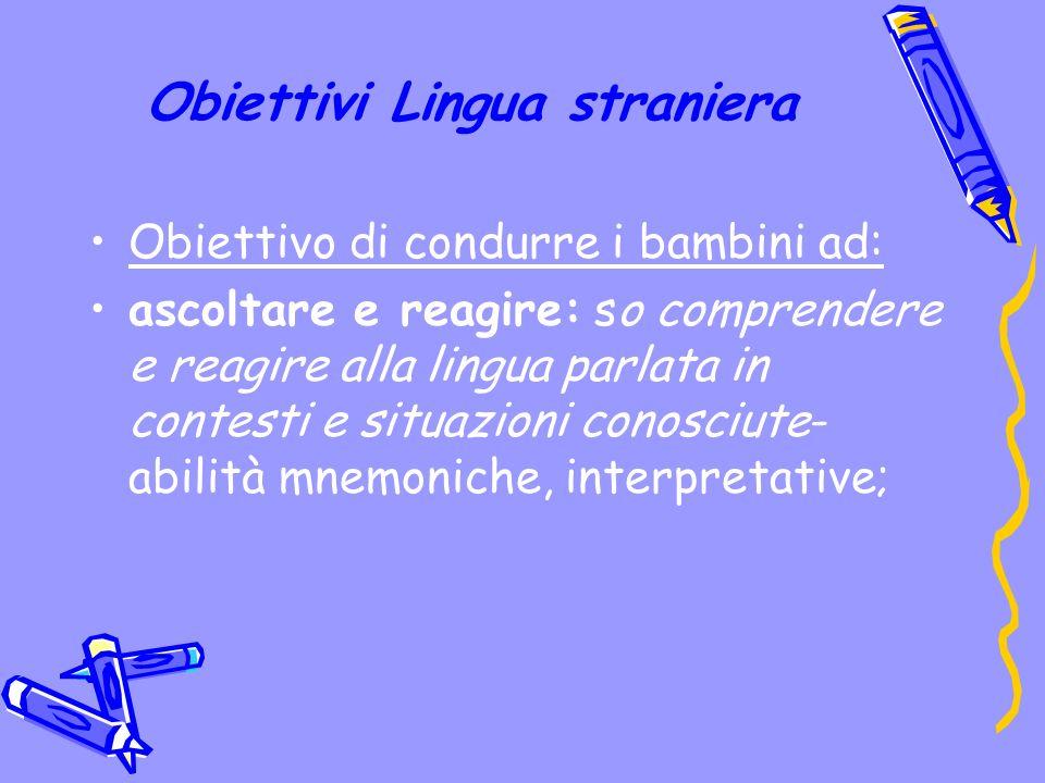 Obiettivi Lingua straniera Obiettivo di condurre i bambini ad: ascoltare e reagire: so comprendere e reagire alla lingua parlata in contesti e situazioni conosciute- abilità mnemoniche, interpretative;