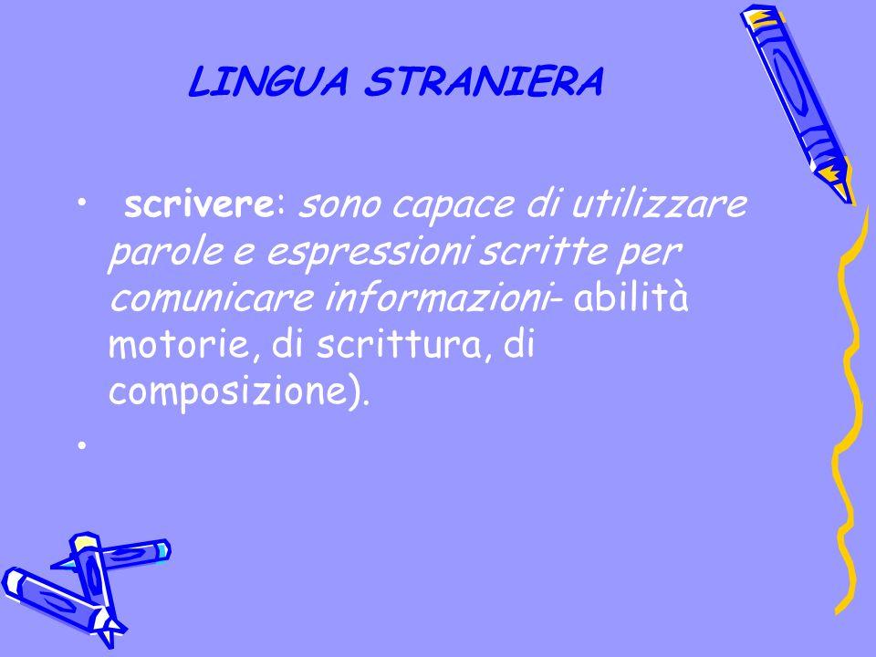 LINGUA STRANIERA scrivere: sono capace di utilizzare parole e espressioni scritte per comunicare informazioni- abilità motorie, di scrittura, di composizione).