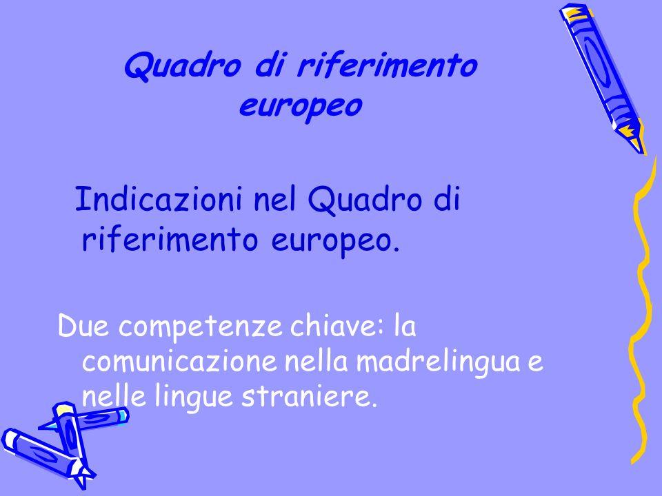 Quadro di riferimento europeo Indicazioni nel Quadro di riferimento europeo.