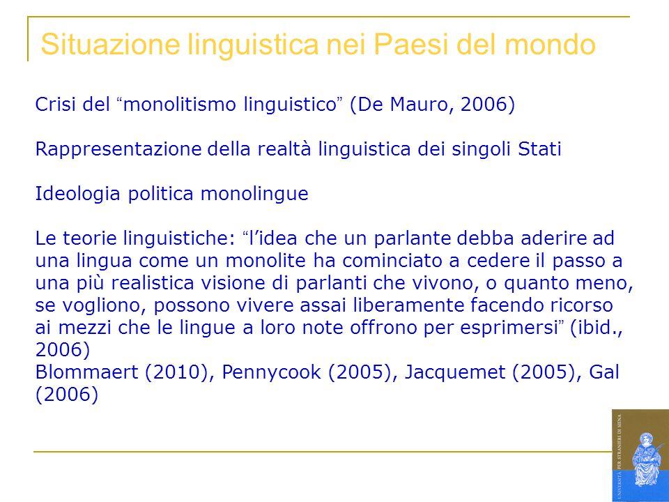 Situazione linguistica nei Paesi del mondo Crisi del monolitismo linguistico (De Mauro, 2006) Rappresentazione della realtà linguistica dei singoli St