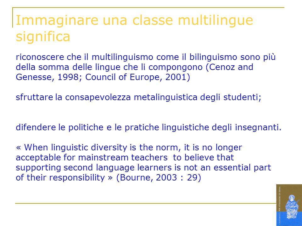 riconoscere che il multilinguismo come il bilinguismo sono più della somma delle lingue che li compongono (Cenoz and Genesse, 1998; Council of Europe,