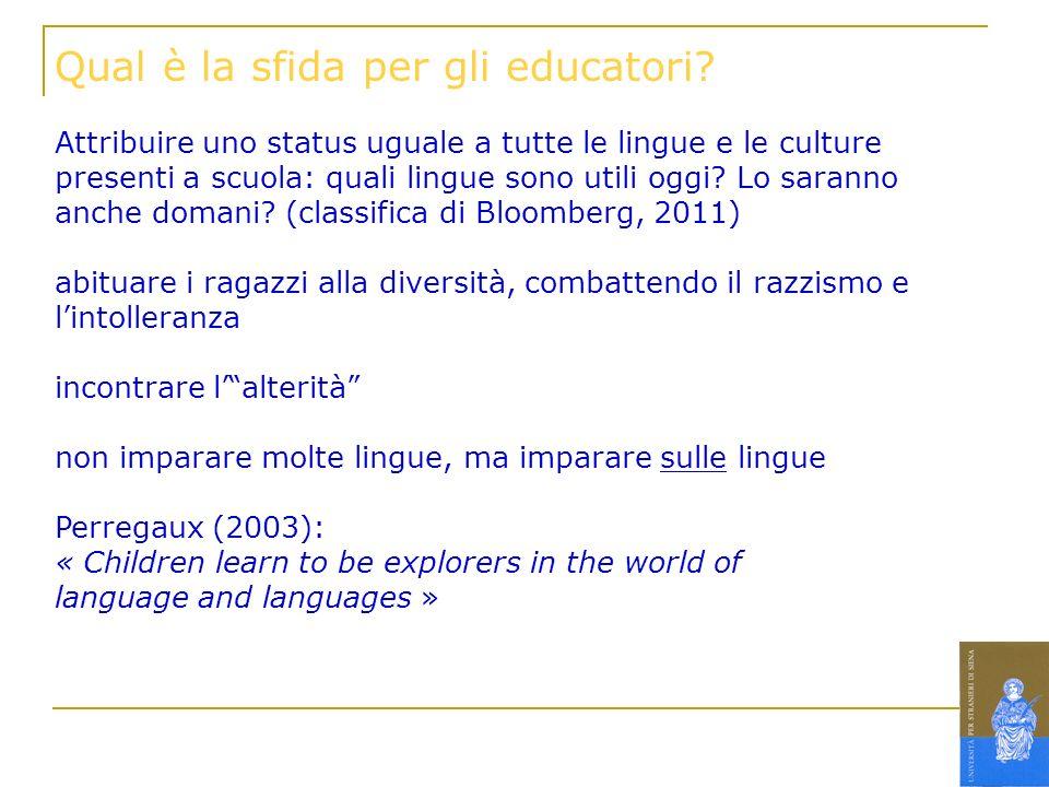 Qual è la sfida per gli educatori? Attribuire uno status uguale a tutte le lingue e le culture presenti a scuola: quali lingue sono utili oggi? Lo sar