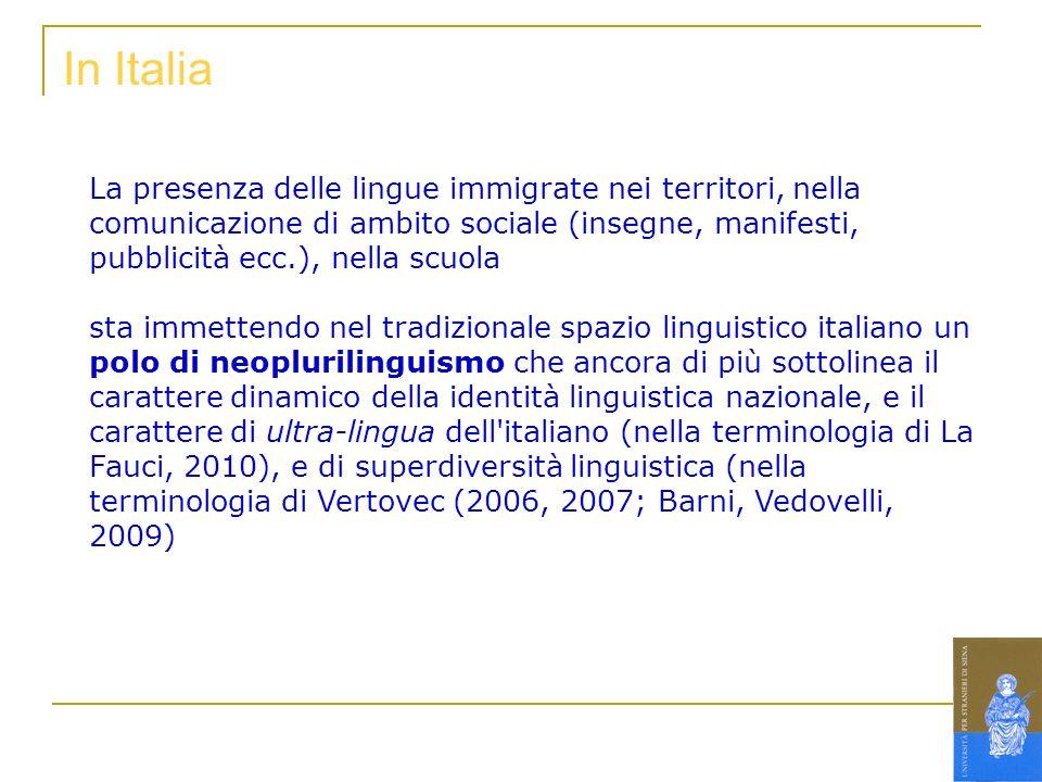 In Italia La presenza delle lingue immigrate nei territori, nella comunicazione di ambito sociale (insegne, manifesti, pubblicità ecc.), nella scuola